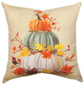 """STACK OF PUMPKINS"" INDOOR OUTDOOR PILLOW - 18"" SQUARE"