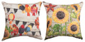 "AUTUMN BIRDS & SUNFLOWERS REVERSIBLE INDOOR OUTDOOR PILLOW - 18"" SQUARE - FLORAL DECOR"