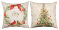 "JOY TO THE WORLD REVERSIBLE PILLOW - 18"" SQUARE - CHRISTMAS PILLOW"