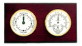 """CAPE MAY"" TIDE CLOCK AND COMBINATION THERMOMETER & HYGROMETER ON MAHOGANY BASE - WEATHER STATION"