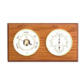 """PLYMOUTH"" BAROMETER & THERMOMETER / HYGROMETER ON OAK BASE - WEATHER STATION"