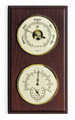 """PLYMOUTH"" BAROMETER & THERMOMETER / HYGROMETER ON MAHOGANY BASE - WEATHER STATION"