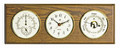 """GLOUCESTER"" CLOCK, BAROMETER & THERMOMETER / HYGROMETER ON OAK BASE - WEATHER STATION"