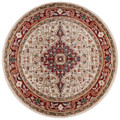 RED MEDALLION ORIENTAL DESIGN RUG - 5' ROUND RUG