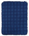 """SOMERSET"" TUFTED COTTON THROW BLANKET - NAVY - 60"" X 50"" - SOLID COLOR THROW"