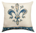 "DECORATIVE PILLOWS - VINTAGE FLEUR DE LIS INDOOR OUTDOOR PILLOW - 18"" SQUARE"