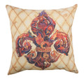 "DECORATIVE PILLOWS - LAVISH FLEUR DE LIS INDOOR OUTDOOR PILLOW - 18"" SQUARE"