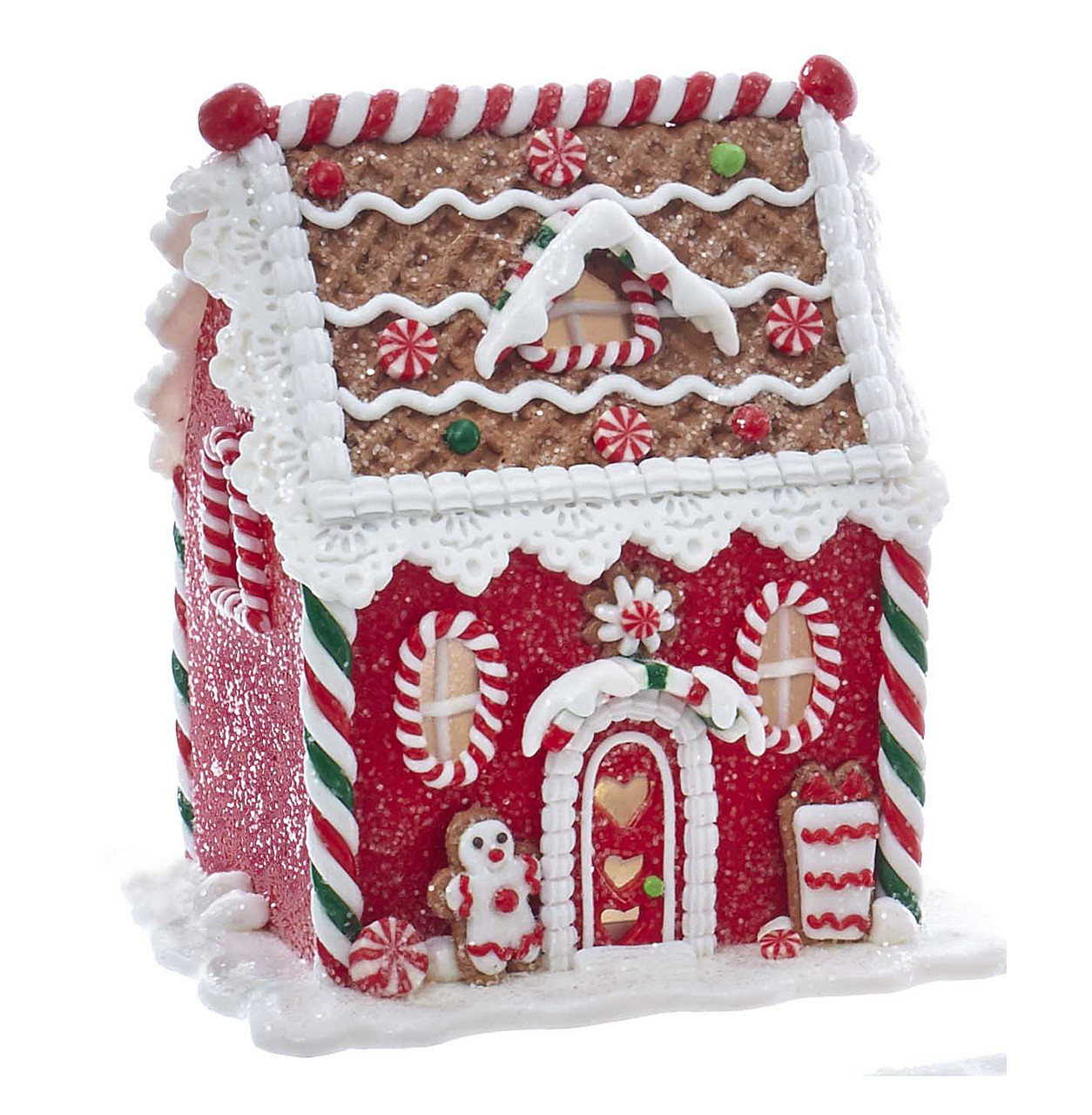 Red Led Lighted Gingerbread House With Frosted Gingerbread Man