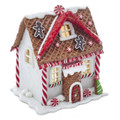 WHITE LED LIGHTED GINGERBREAD HOUSE WITH GINGERBREAD MEN DECORATING THE ROOF
