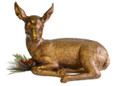 RECLINING FAWN HOLIDAY FIGURINE - ANTIQUE GOLD FINISH