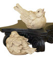 """FEATHERED FRIENDS"" BIRD SCULPTURES - SET OF TWO - ANTIQUE WHITE"
