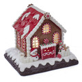CHRISTMAS DECORATIONS - LIGHTED PEPPERMINT CANDY GINGERBREAD HOUSE WITH SNOWMAN