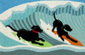 """RUFF SURF"" INDOOR OUTDOOR RUG - 20"" x 30"" - SURFING LABRADOR RETRIEVER RUG"