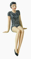 BATHING BEAUTY FIGURINE IN POLKA DOT BATHING SUIT WITH HAT - SHELF SITTER
