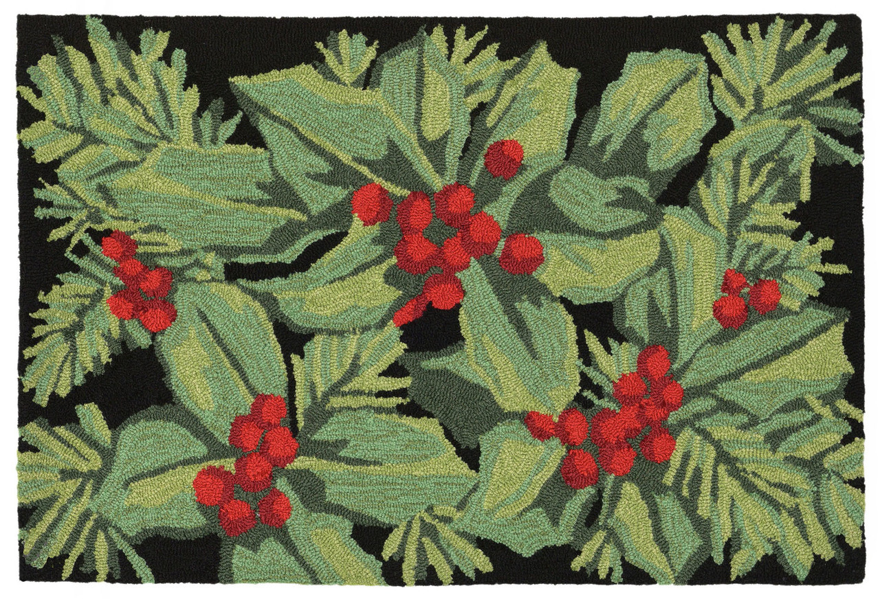 Holly Berry Indoor Outdoor Rug 30 X 48 Christmas Rug