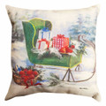 """WINTERS DAY SLEIGH RIDE "" INDOOR OUTDOOR PILLOW - 18"" SQUARE"
