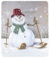"""SKIING SNOWMAN"" FLEECE THROW BLANKET - 50"" X 60"""