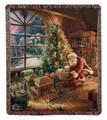 """SANTA DELIVERING CHRISTMAS GIFTS"" TAPESTRY THROW BLANKET - 50"" X 60"" - THOMAS KINKADE DESIGN"