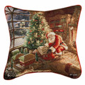 """SANTA DELIVERING CHRISTMAS GIFTS"" TAPESTRY THROW PILLOW"