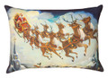 """DASHING ALL THE WAY"" SANTA & REINDEER PILLOW - OBLONG CHRISTMAS PILLOW  - 13"" X 18"""