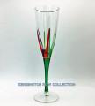 """POSITANO"" CHAMPAGNE FLUTE - GREEN STEM - HAND PAINTED VENETIAN GLASSWARE"