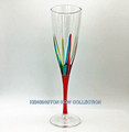 """POSITANO"" CHAMPAGNE FLUTE - RED STEM - HAND PAINTED VENETIAN GLASSWARE"