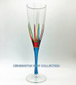 """POSITANO"" CHAMPAGNE FLUTE - TURQUOISE STEM - HAND PAINTED VENETIAN GLASSWARE"