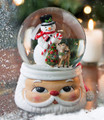 SNOWMAN & REINDEER MUSICAL SNOW GLOBE ON SANTA HEAD BASE