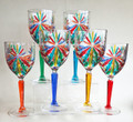 """SORRENTO"" WINE GLASSES - SET/6 - HAND PAINTED VENETIAN GLASSWARE"