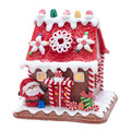CHRISTMAS DECORATIONS - SANTA'S LIGHTED GINGERBREAD COTTAGE - GINGERBREAD HOUSE