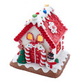 CHRISTMAS DECORATIONS - LED LIGHTED WHITE GINGERBREAD HOUSE WITH SNOWMAN