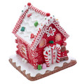 CHRISTMAS DECORATIONS - LED LIGHTED RED GINGERBREAD HOUSE WITH CANDY CANES & GUMDROPS