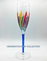 """RAVENNA"" CHAMPAGNE FLUTE - BLUE STEM - HAND PAINTED VENETIAN GLASSWARE"