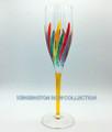"""RAVENNA"" CHAMPAGNE FLUTE - YELLOW STEM - HAND PAINTED VENETIAN GLASSWARE"