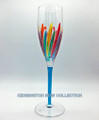 """RAVENNA"" CHAMPAGNE FLUTE - TURQUOISE STEM - HAND PAINTED VENETIAN GLASSWARE"