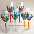 """RAVENNA"" OVERSIZED WINE GLASSES - SET OF SIX - HAND PAINTED VENETIAN GLASSWARE"