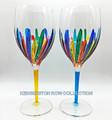 RAVENNA OVERSIZED WINE GLASSES - SET/2 - YELLOW & TURQUOISE - VENETIAN GLASSWARE