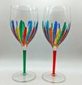 """""""RAVENNA"""" OVERSIZED WINE GLASSES - SET/2 - GREEN & RED - VENETIAN GLASSWARE"""