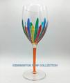 """RAVENNA"" OVERSIZED WINE GLASS - ORANGE STEM - HAND PAINTED VENETIAN GLASSWARE"