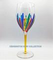 """""""RAVENNA"""" OVERSIZED WINE GLASS - YELLOW STEM - HAND PAINTED VENETIAN GLASSWARE"""