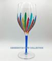 """RAVENNA"" OVERSIZED WINE GLASS - BLUE STEM - HAND PAINTED VENETIAN GLASSWARE"