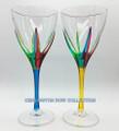 POSITANO WINE GLASSES - SET/2 - YELLOW & TURQUOISE - HAND PAINTED VENETIAN GLASS