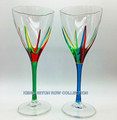POSITANO WINE GLASSES - SET/2 - GREEN & TURQUOISE - HAND PAINTED VENETIAN GLASS