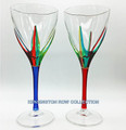 """POSITANO"" WINE GLASSES - SET/2 - RED & BLUE - HAND PAINTED VENETIAN GLASSWARE"
