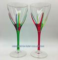 """POSITANO"" WINE GLASSES - SET/2 - RED & GREEN - HAND PAINTED VENETIAN GLASSWARE"