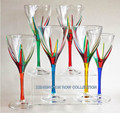 """POSITANO"" WINE GLASSES - SET OF SIX - HAND PAINTED VENETIAN GLASSWARE"