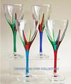 """POSITANO"" WINE GLASSES - SET OF FOUR - HAND PAINTED VENETIAN GLASSWARE"