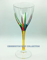 """POSITANO"" WINE GLASS - YELLOW STEM - HAND PAINTED VENETIAN GLASSWARE"