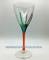 """POSITANO"" WINE GLASS - ORANGE STEM - HAND PAINTED VENETIAN GLASSWARE"