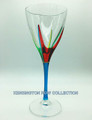 """POSITANO"" WINE GLASS - TURQUOISE STEM - HAND PAINTED VENETIAN GLASSWARE"